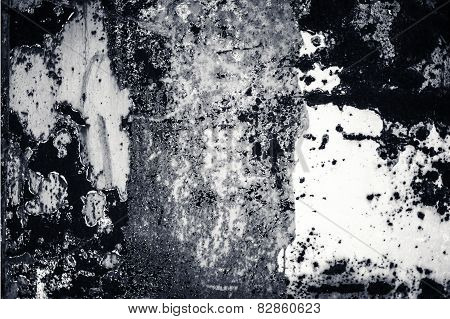 Abstract Gray Background With Spotlight And Scratches. Dark Grunge Textured Wall Closeup For Design.