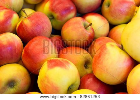 Several red with yellow apples