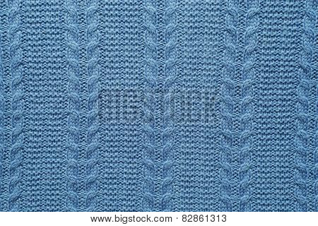 Close-up view of wool fabric pattern colored in blue