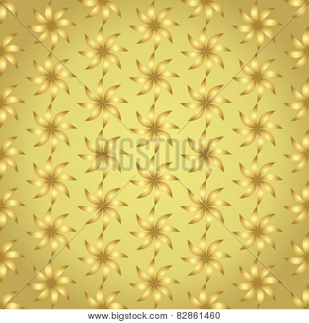 Gold Turbine Seamless Pattern On Pastel Background