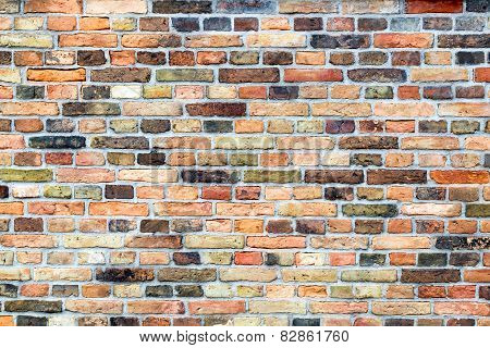 Brick wall with various colors