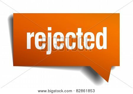 Rejected Orange Speech Bubble Isolated On White