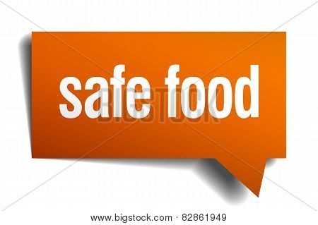 Safe Food Orange Speech Bubble Isolated On White
