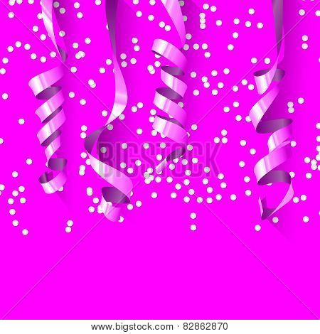 Party Background with Shiny Streamers. Stock Vector Illustration.