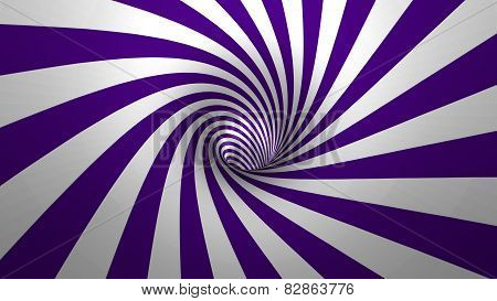 Hypnotic spiral or swirl making purple and white background in 3D