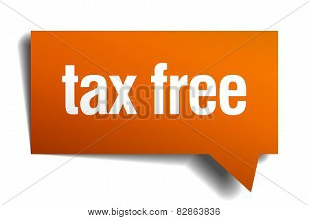 Tax Free Orange Speech Bubble Isolated On White