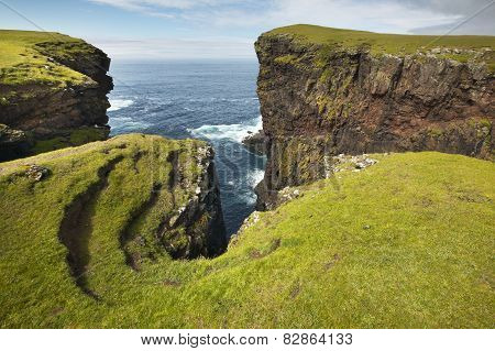 Scottish Coastline Landscape In Shetland Islands. Scotland. Uk
