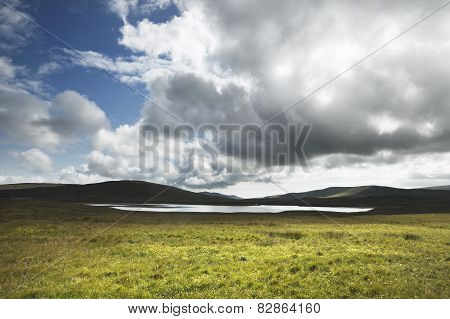Scottish Landscape With Loch In Shetland Islands. Scotland. Uk