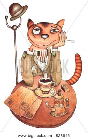 The cat who sits in cafe, reads the newspaper, smokes and drinks tea. Illustration by Eugene Ivanov.