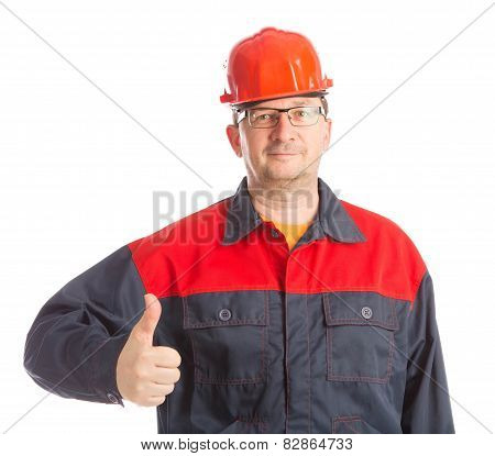 Worker with thumb up.