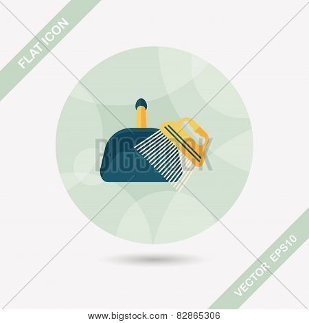 Pet Dog Broom Flat Icon With Long Shadow,eps10