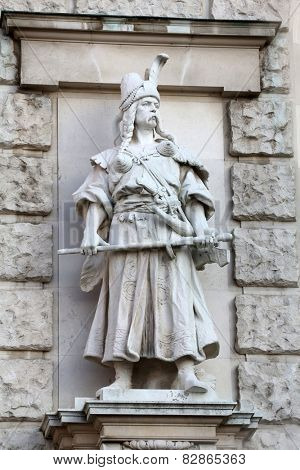 VIENNA, AUSTRIA - OCTOBER 10: Rudolf Weyr: Magyar, on the facade of the Neuen Burg on Heldenplatz in Vienna, Austria on October 10, 2014.