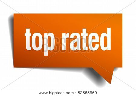 Top Rated Orange Speech Bubble Isolated On White