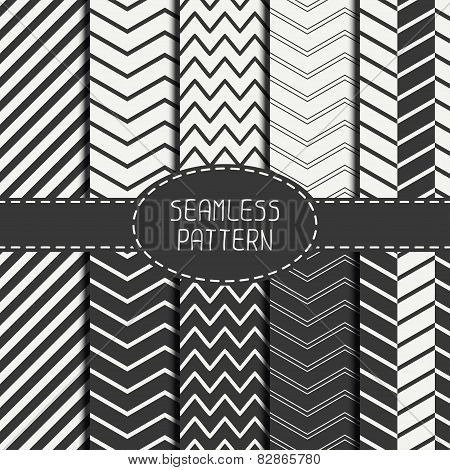Set of monochrome fashion geometri seamless pattern with chevron. Collection of paper for scrapbook.