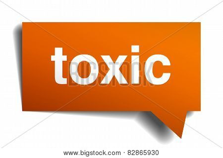 Toxic Orange Speech Bubble Isolated On White