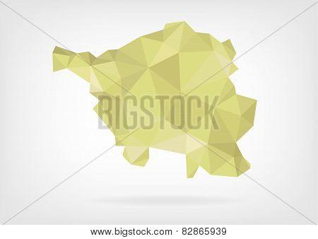 Low Poly map of german region Saarland