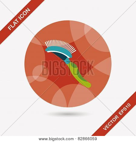 Pet Dog Brush Flat Icon With Long Shadow,eps10