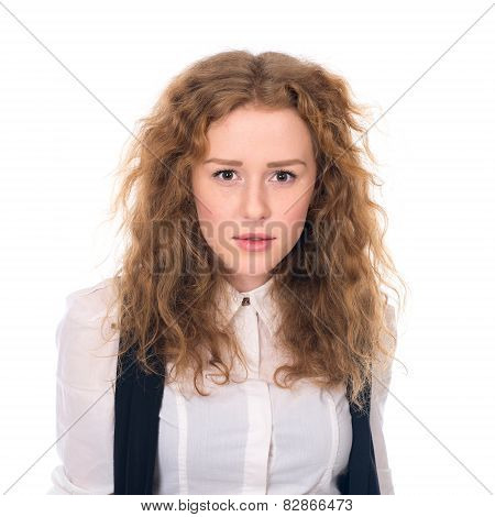 Portrait Of Doubtful Looking Beautiful Young Girl