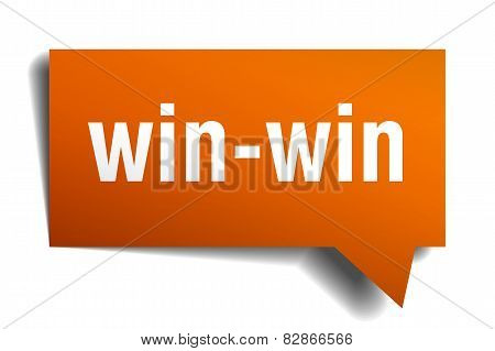Win-win Orange Speech Bubble Isolated On White