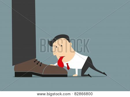 Cartoon flat businessman licking huge boot