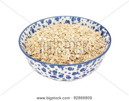 Porridge Oats In A Blue And White China Bowl