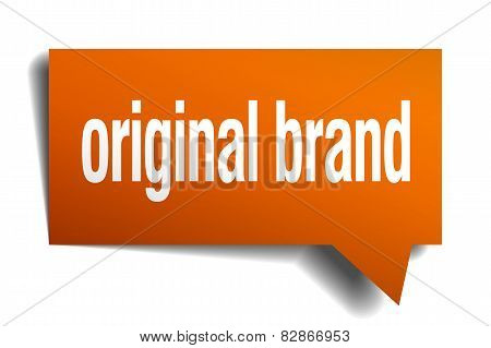 Original Brand Orange Speech Bubble Isolated On White