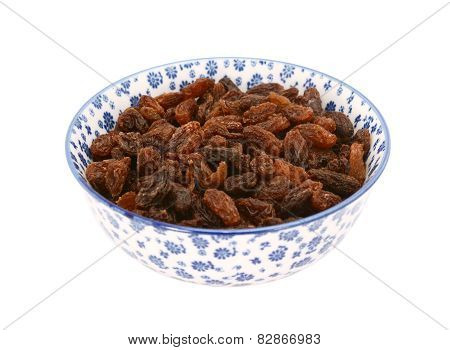 Sultanas In A Blue And White China Bowl