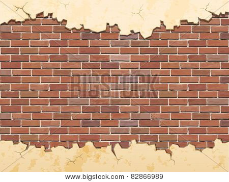 Brick Wall And Cracked Concrete Vector Background