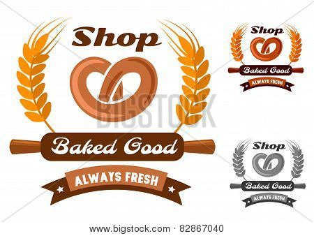 Bakery shop emblem or logo with pretzel