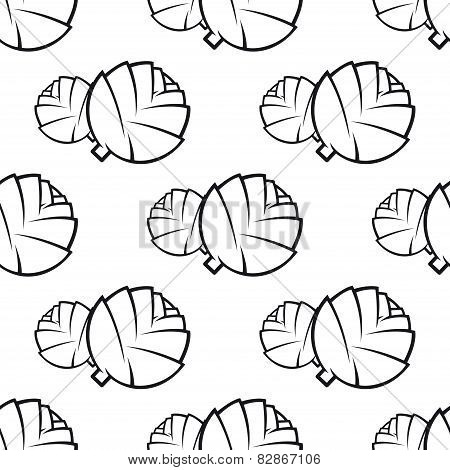 Abstract outline cabbage vegetable seamless pattern