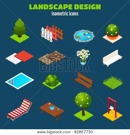 Landscape Design Isometric Icons