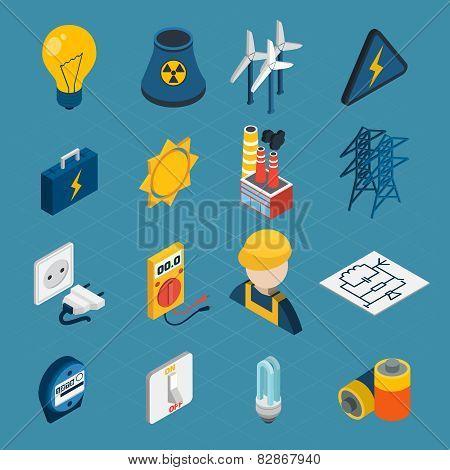 Electricity Isometric Icons