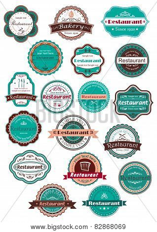 Restaurant and bakery labels in vintage style