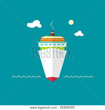 Cruise ship at sea or in the ocean on a sunny day