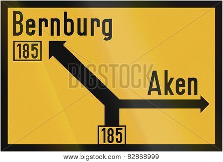 Direction Sign To Bernburg And Aken 1956