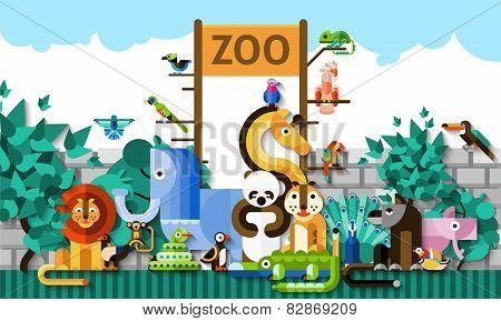 Zoo Background Illustration