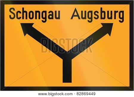 Direction Sign To Schongau And Augsburg 1936