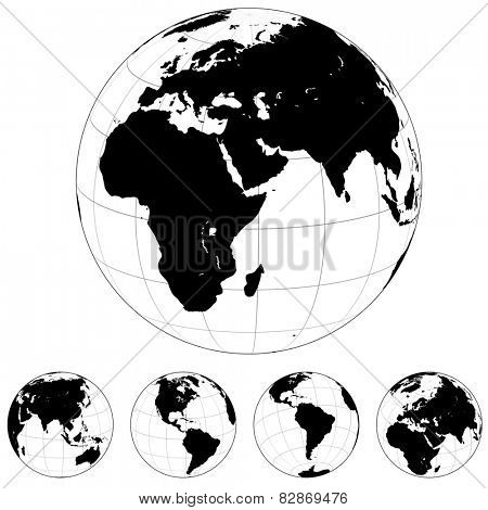 Black and white Earth globes isolated on white.