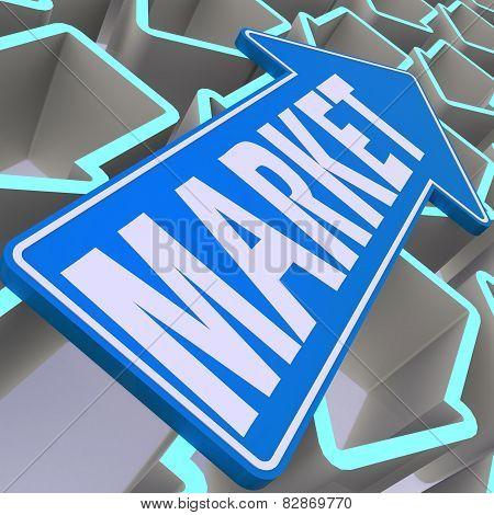 Market Word On Blue Arrow