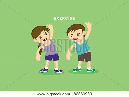 Exercising Couple Cute Vector Cartoon Characters