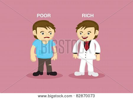 Rich Man Poor Man Vector Cartoon Illustration