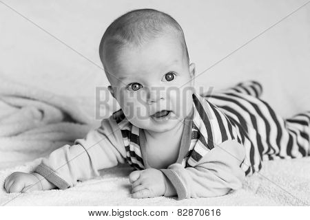 Cute Baby Boy On A White Background