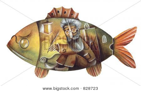 Travel to the big fish. Illustration by Eugene Ivanov.