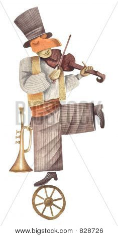 The street circus actor-musician with a violin and a pipe. Illustration by Eugene Ivanov.