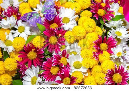 Bouquet Of Yellow Roses And White Flowers And Purple Butterfly
