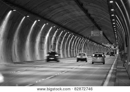 Long tunnel between Sao Paulo city and Santos beach