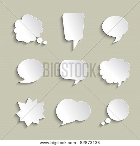Set of volume speech bubbles with a shadows