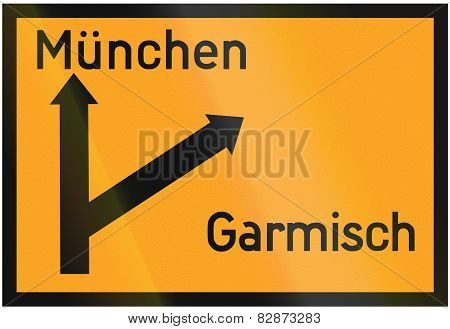 Direction Sign To Munich And Garmisch 1936