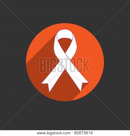 Breast Cancer Awareness Red Ribbon On White Background.