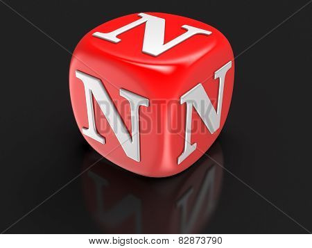 Dice with letter N (clipping path included)